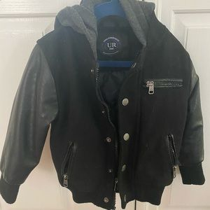 Super cool leather sleeve & wool bomber jacket 3T
